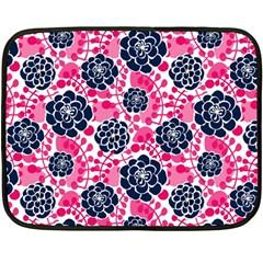 Flower Floral Rose Purple Pink Leaf Double Sided Fleece Blanket (mini)  by Jojostore