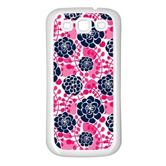 Flower Floral Rose Purple Pink Leaf Samsung Galaxy S3 Back Case (white) by Jojostore