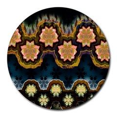 Ornate Floral Textile Round Mousepads