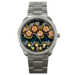 Ornate Floral Textile Sport Metal Watch by Jojostore