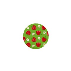 Strawberries Flower Floral Red Green 1  Mini Buttons by Jojostore