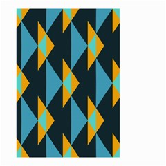 Yellow Blue Triangles Pattern                                                        Small Garden Flag by LalyLauraFLM