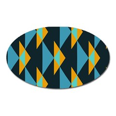 Yellow Blue Triangles Pattern                                                        magnet (oval) by LalyLauraFLM