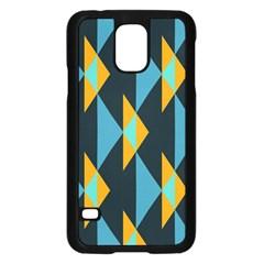 Yellow blue triangles pattern                                                       Samsung Galaxy S5 Case (Black) by LalyLauraFLM