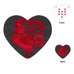 Red Fire Chicken Year Playing Cards (heart)  by Valentinaart