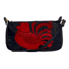 Red Fire Chicken Year Shoulder Clutch Bags by Valentinaart