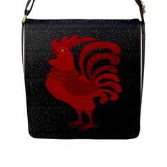 Red Fire Chicken Year Flap Messenger Bag (l)  by Valentinaart