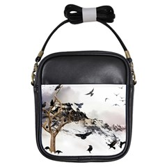 Birds Crows Black Ravens Wing Girls Sling Bags by Amaryn4rt