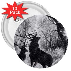 Stag Deer Forest Winter Christmas 3  Buttons (10 Pack)  by Amaryn4rt