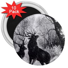Stag Deer Forest Winter Christmas 3  Magnets (10 Pack)  by Amaryn4rt