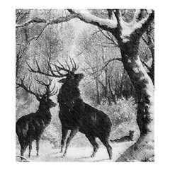 Stag Deer Forest Winter Christmas Shower Curtain 66  X 72  (large)  by Amaryn4rt