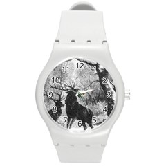 Stag Deer Forest Winter Christmas Round Plastic Sport Watch (m) by Amaryn4rt
