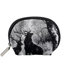 Stag Deer Forest Winter Christmas Accessory Pouches (small)