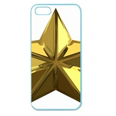 Stars Gold Color Transparency Apple Seamless Iphone 5 Case (color)