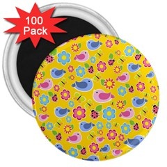 Spring Pattern   Yellow 3  Magnets (100 Pack) by Valentinaart