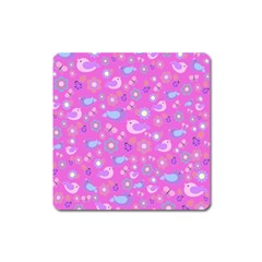 Spring Pattern   Pink Square Magnet by Valentinaart