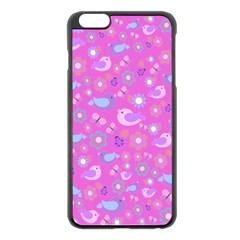 Spring Pattern   Pink Apple Iphone 6 Plus/6s Plus Black Enamel Case by Valentinaart