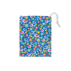 Spring Pattern   Blue Drawstring Pouches (small)  by Valentinaart