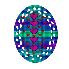 Hearts Weave Oval Filigree Ornament (two Sides) by pepitasart