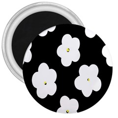 April Fun Pop Floral Flower Black White Yellow Rose 3  Magnets by Jojostore