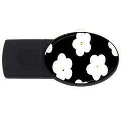 April Fun Pop Floral Flower Black White Yellow Rose Usb Flash Drive Oval (2 Gb) by Jojostore