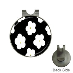 April Fun Pop Floral Flower Black White Yellow Rose Hat Clips With Golf Markers by Jojostore