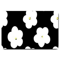 April Fun Pop Floral Flower Black White Yellow Rose Large Doormat  by Jojostore