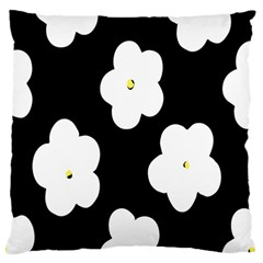 April Fun Pop Floral Flower Black White Yellow Rose Standard Flano Cushion Case (one Side) by Jojostore