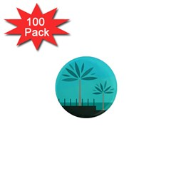 Coconut Palm Trees Sea 1  Mini Magnets (100 Pack)  by Jojostore