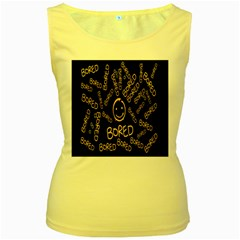 Bored Face Smile Sign Yellow Black Mask Women s Yellow Tank Top by Jojostore