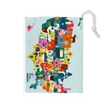 10 Days In America Grab Bag Fanciful - Drawstring Pouch (Large)