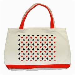 Curly Heart Card Red Black Gambling Game Player Classic Tote Bag (red) by Jojostore