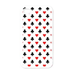 Curly Heart Card Red Black Gambling Game Player Apple Iphone 4 Case (white) by Jojostore