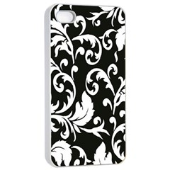 Clasic Floral Flower Black Apple Iphone 4/4s Seamless Case (white) by Jojostore