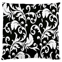 Clasic Floral Flower Black Large Cushion Case (two Sides) by Jojostore