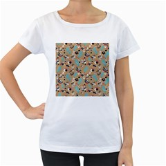Deer Cerry Animals Flower Floral Leaf Fruit Brown Black Blue Women s Loose Fit T Shirt (white) by Jojostore