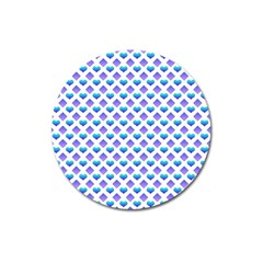 Diamond Heart Card Purple Valentine Love Blue Magnet 3  (round) by Jojostore