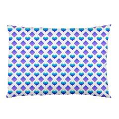 Diamond Heart Card Purple Valentine Love Blue Pillow Case by Jojostore
