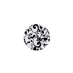 Floral Flower Leaf Black 1  Mini Buttons by Jojostore