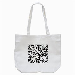 Floral Flower Leaf Black Tote Bag (white) by Jojostore