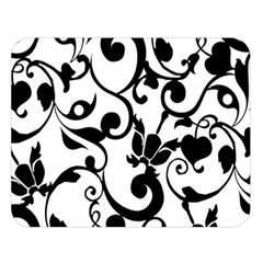 Floral Flower Leaf Black Double Sided Flano Blanket (large)  by Jojostore