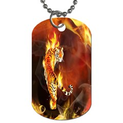 Fire Tiger Lion Animals Wild Orange Yellow Dog Tag (two Sides) by Jojostore