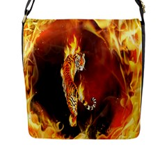 Fire Tiger Lion Animals Wild Orange Yellow Flap Messenger Bag (l)  by Jojostore