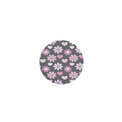 Flower Floral Rose Sunflower Pink Grey Love Heart Valentine 1  Mini Buttons by Jojostore