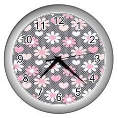 Flower Floral Rose Sunflower Pink Grey Love Heart Valentine Wall Clocks (silver)  by Jojostore