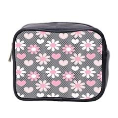Flower Floral Rose Sunflower Pink Grey Love Heart Valentine Mini Toiletries Bag 2 Side by Jojostore