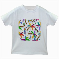 Glasses Coconut Tree Color Rainbow Purple Yellow Orange Green Red Pink Brown Line Kids White T Shirts by Jojostore