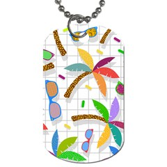 Glasses Coconut Tree Color Rainbow Purple Yellow Orange Green Red Pink Brown Line Dog Tag (one Side) by Jojostore