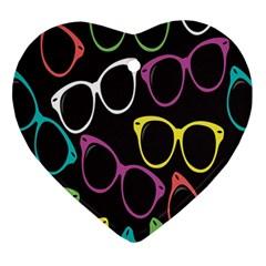 Glasses Color Pink Mpurple Green Yellow Blue Rainbow Black Ornament (heart) by Jojostore