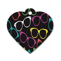 Glasses Color Pink Mpurple Green Yellow Blue Rainbow Black Dog Tag Heart (two Sides) by Jojostore